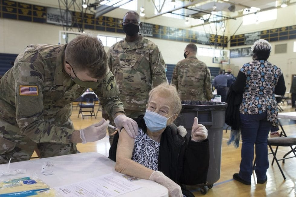 Some people over the age of 65 got vaccines Monday as part of a state trial to check logistics.