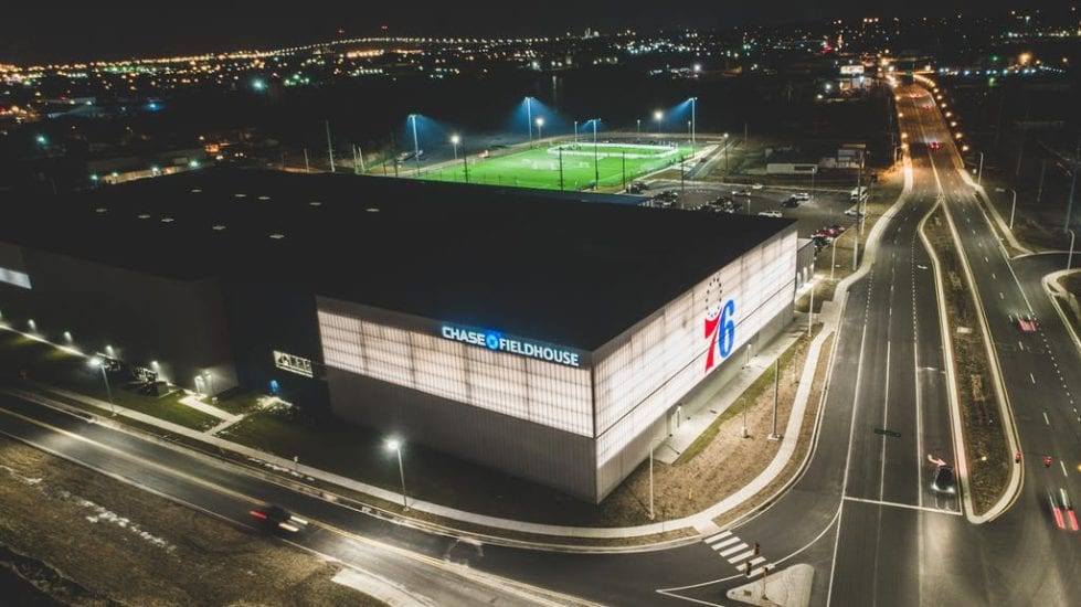 Lit up in blue: The Chase Fieldhouse shows off its new moniker.