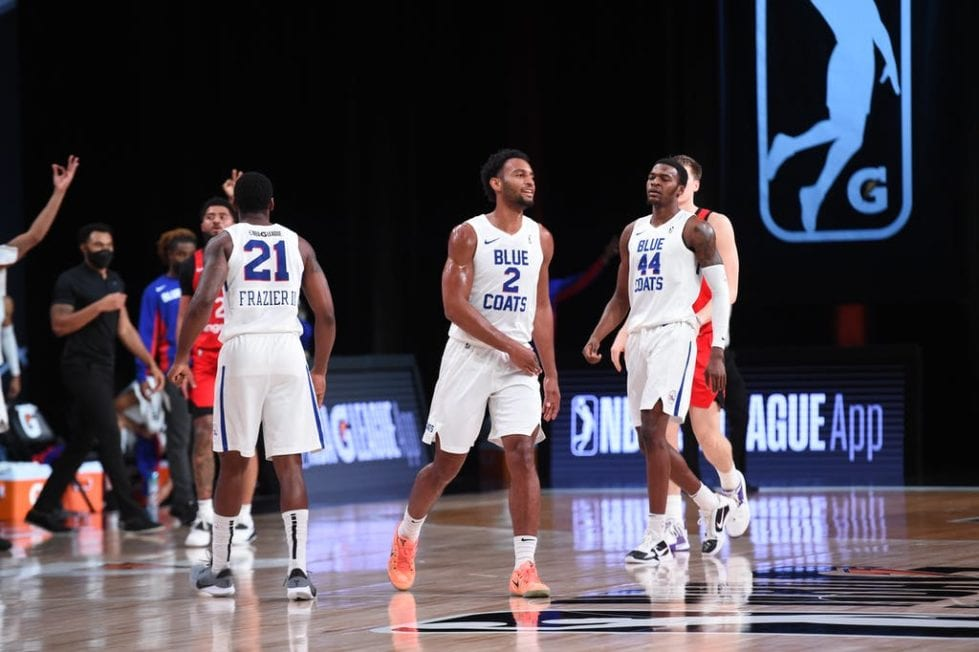 The Blue Coats Players in the photo are Braxton Key (2) and Paul Reed (44).