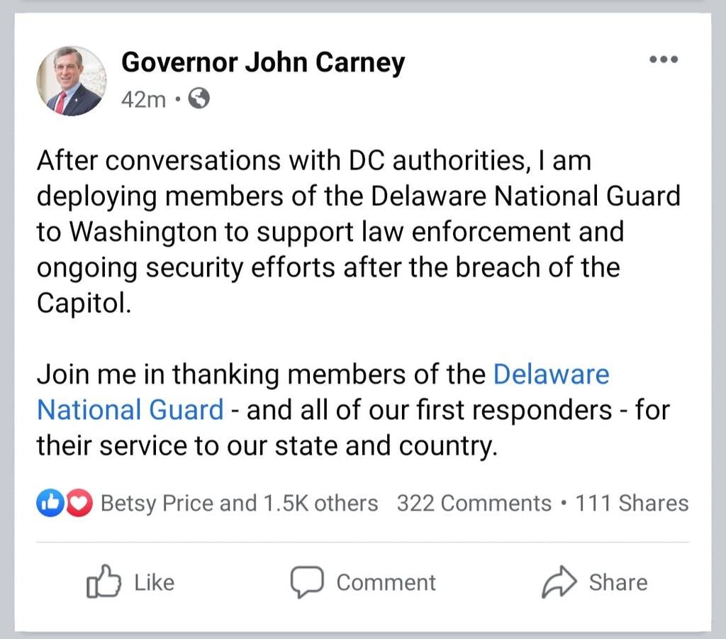 Gov. John Carney Facebook post