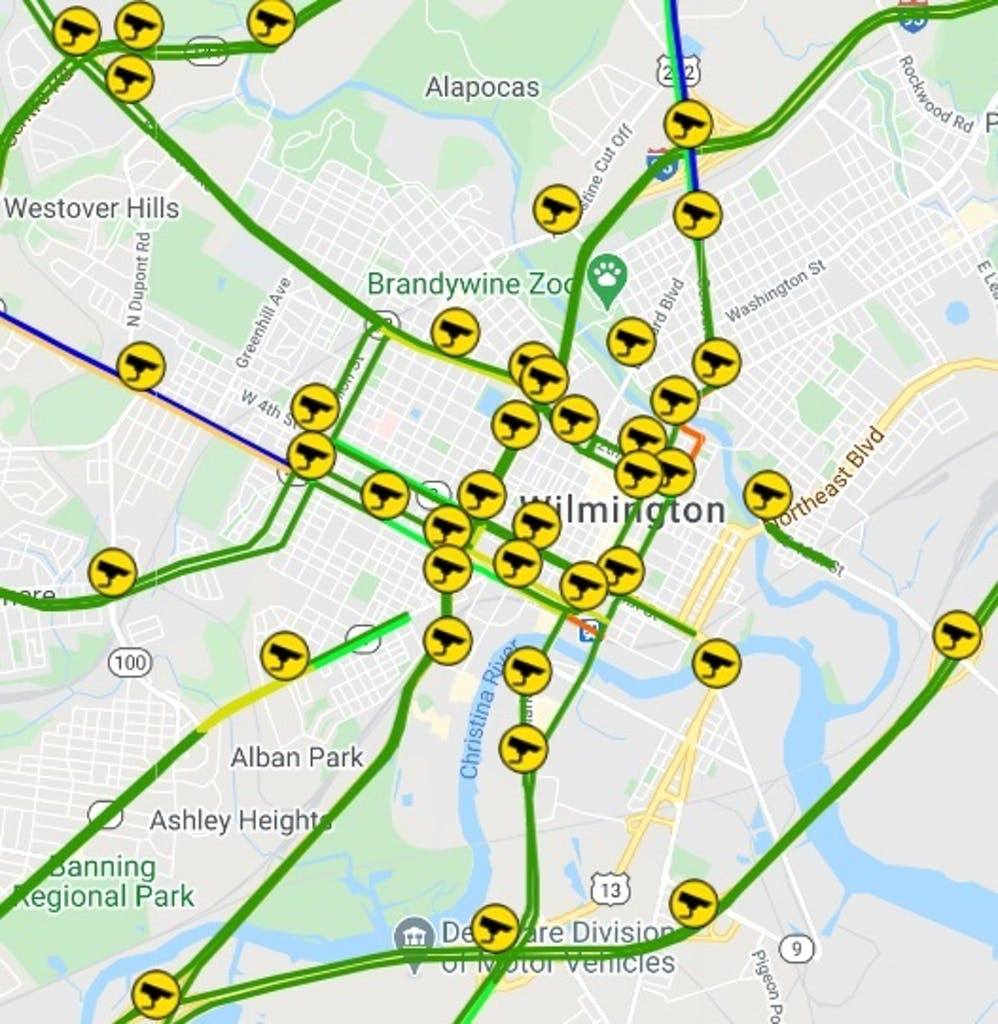 Bluetooth system and traffic cameras around Wilmington used to monitor travel times. (Delaware Department of Transportation image)
