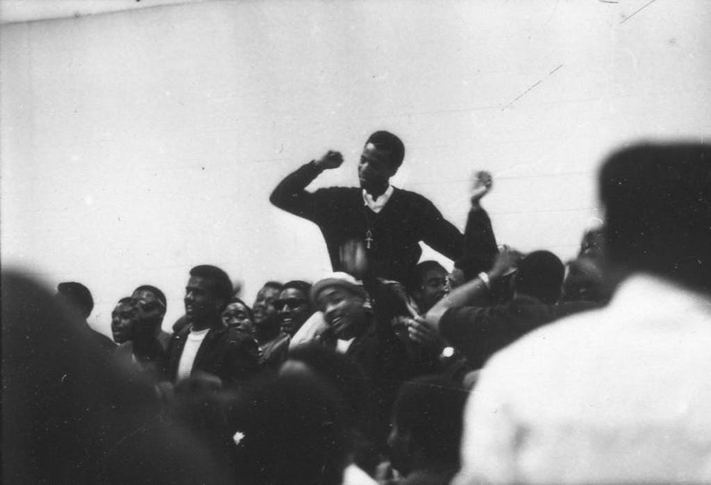 SGA President Leroy Tate at student meeting. Photos courtesy of Delaware State Archives.