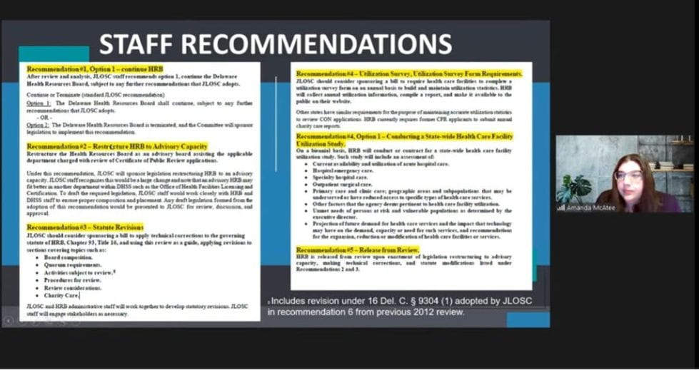 A board display details recommended changes to the Health Resources Board.