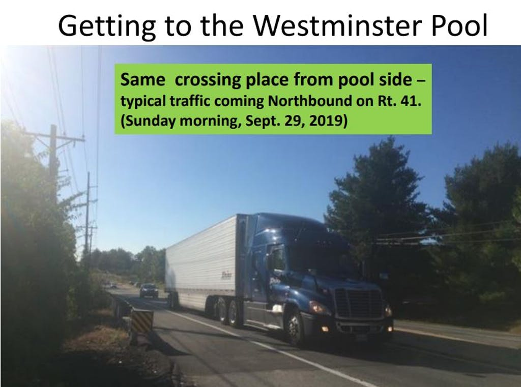 Millcreek Neighbors for Safer Pathways includes this photo of a road that children have to cross to get to a neighborhood pool.
