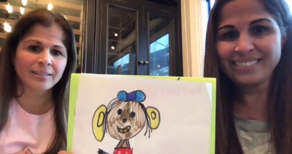 """Ellen's Game of Games"" winnersJudy Good (left) and Patty Vattilana, holding one of her congratulatory cards."