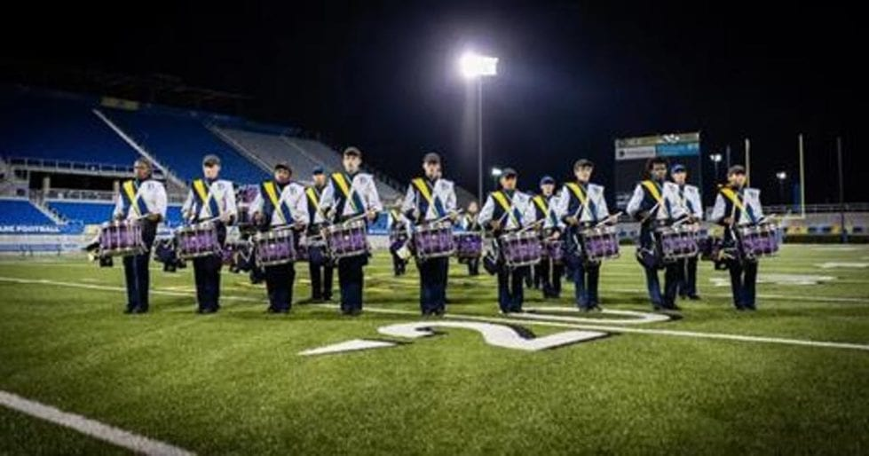 The University of Delaware March Band drumline.