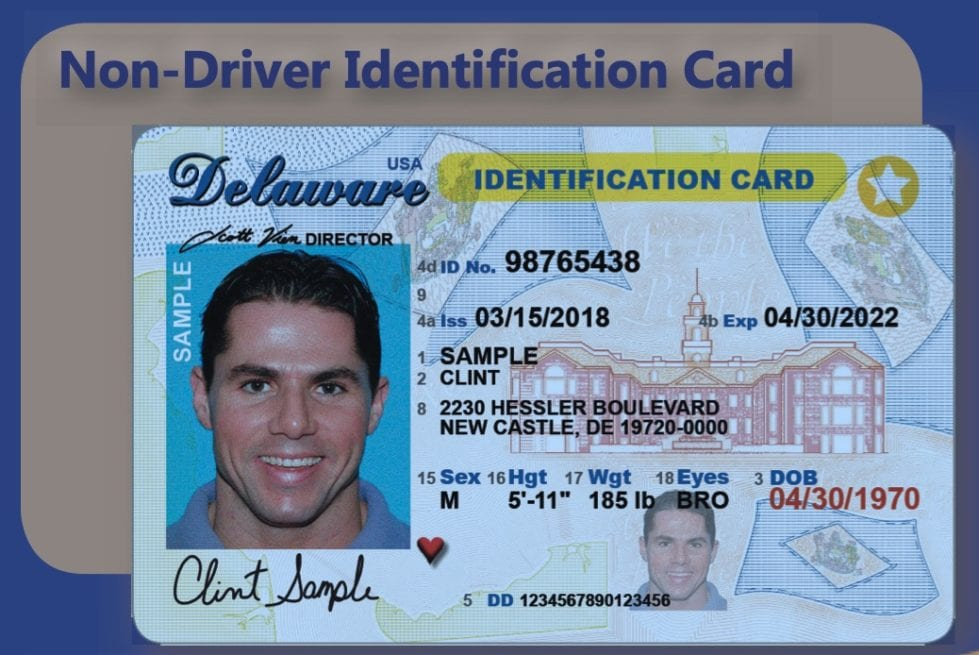 A sample ID card (Delaware Division of Motor Vehicles)