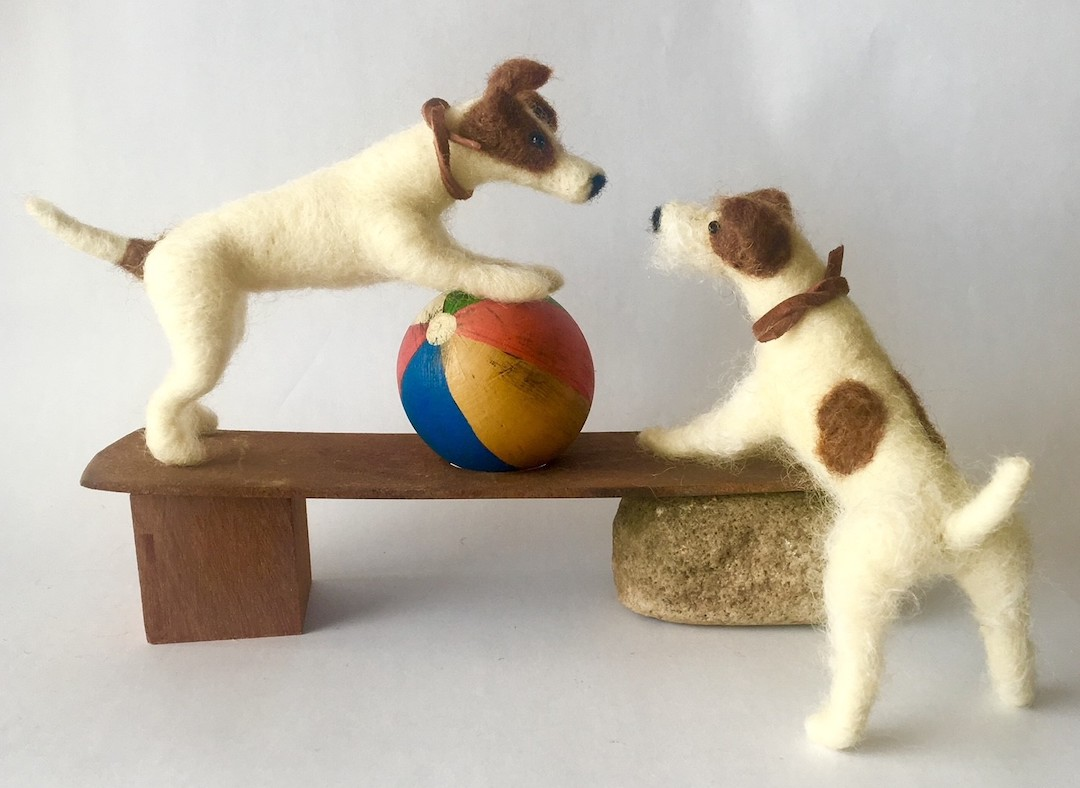 (Jack Russell terriers in a vignette by Tracy Shue of Walking Olive)